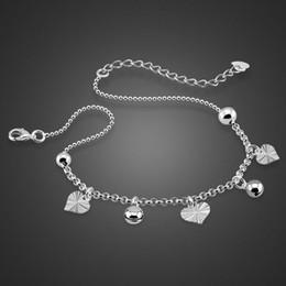 Wholesale Anklet Designs - New Design Women Silver Bead Chain Anklet Ankle Bracelet Barefoot Sandal Bell Anklet Leaf Solid 925 Sterling Silver Anklet