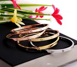 Бриллиантовый браслет широкий онлайн-Горячий браслет нержавеющей стали brandnew 316L brandnew с широким bangle с диамантом без отвертки для ювелирных изделий браслета размера женщин PS5370