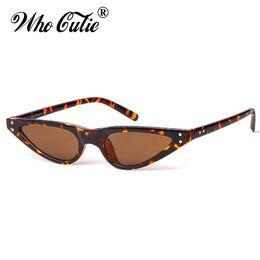 Wholesale Leopard Glasses Men - WHO CUTIE 2018 Small Triangle Cat Eye Sunglasses Sexy Women Leopard Cateye Frame Skinny Narrow Retro Sun Glasses Slim Shades 520