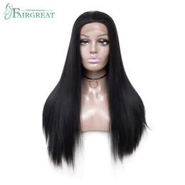 parrucche ricci di capelli umili ombre bang Sconti Parrucche sintetiche diritte lunghe diritte del merletto di Fairgreat 24inch per le parrucche di sguardo dei capelli naturali delle donne per le donne nere