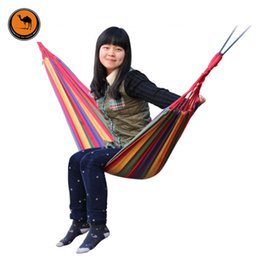 Wholesale rainbow striped fabric - Portable Hammock Camping Backpacking Hiking Woven Cotton Fabric Rainbow Striped 200*80cm