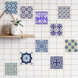Wholesale Wholesale Art Furniture - 3D Self -Adhesive Blue and White Porcelain Wall Decal Art Waterproof Tile Stickers Kitchen Bathroom Furniture Home Decoration