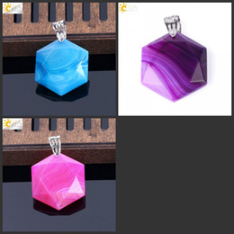 blue agate pendants Coupons - CSJA Natural Veins Agate Purple Blue Rose Red Chakra Gems Stone Hexagon Star Charms Pendant for Necklace Women Fashion Jewelry Gift E643 C