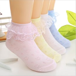 Wholesale children lace socks - 12pairs lot Mixed colors summer baby girls kids toddler white pink lace ruffle princess mesh socks children thin breathable short ankle sock