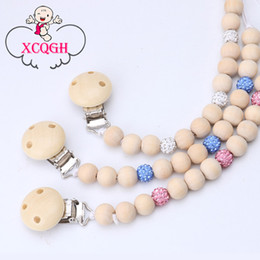 Wholesale Dummy Hands - XCQGH Hand Made Pacifier Holder Wooden Beads White Pink Blue Boy Girl Binky Clip Dummy Teether Clip Holder Pacifiers Chain