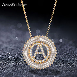 alphabet letters for jewelry Coupons - ANFASNI Fashionable Clear CZ 26 Word English Letter Necklaces & Pendants For Women Alphabet Jewelry Colar Feminia S030110