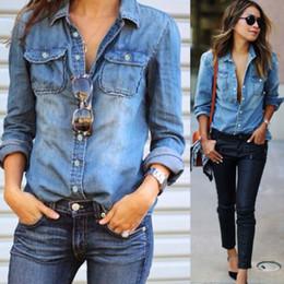 514a4da42fd High Street Fashion Women Vintage Solid Classic Long Sleeve Jeans Shirt  Blue Denim Cardigan Blouse Tops Single Button Shirts