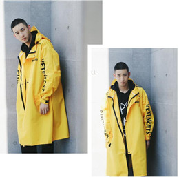 Wholesale Printed Trench Coats - Wholesale- Vetements Polizei Man Jackets Hooded Rain Coat Water-proof Sun Protection Trench Casual Hi-Street Fashion Brand Men Clothing