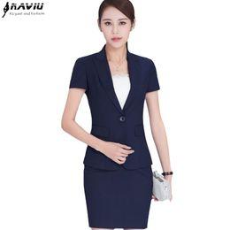 Wholesale Ladies Short Sleeve Office Suits - Summer work wear women skirt suits set fashion formal short-sleeve slim blazer with skirt office ladies plus size work wear