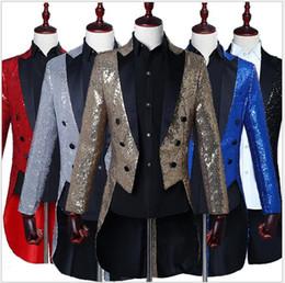Chaquetas de vestir escénicas para hombre con diseño de esmoquin con lentejuelas de mago para los anfitriones de bares de clubes nocturnos que usan trajes de comando de coro en venta desde fabricantes