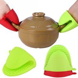 Topf-stick online-Küche Silikon hitzebeständige Handschuhe Clips Isolierung Antihaft Anti-Rutsch-Topf Schüssel Halter Clip Kochen Backofen Handschuhe