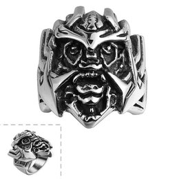 Wholesale mysterious rings - Fashion 316L stainless steel mask ring Mysterious exaggerated Halloween party jewelry rings