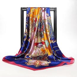 Nouveau Printemps Hijab Foulard En Soie Châle Accessoires De Mode Musulman Foulard Tête Femmes 90 * 90 cm Élégant Motif Chaîne Foulards Carrés ? partir de fabricateur