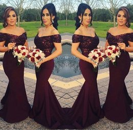 Wholesale best off shoulders dresses - Sparkly Burgundy Sequined Mermaid Bridesmaid Dresses 2018 Off the Shoulder Best Wedding Party Dresses Blush Pink Maid of Honor Gowns