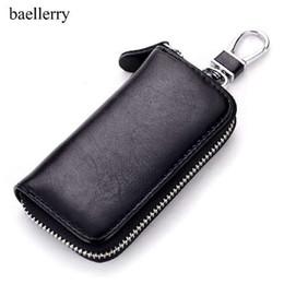 Wholesale Car Key Card Case - Genuine Cow Leather Men & Women Car Key Bag Wallet Multi Function Key Case Fashion Housekeeper Holders 6 Key Rings
