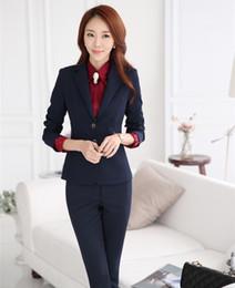 f60c1758bb561 Artı Boyutu 4XL Sonbahar Kış Resmi Profesyonel Iş Elbisesi Takım Elbise  Ceketler Ve Pantolon Ile Kariyer Güzellik Salonu Pantolon Seti Blazers