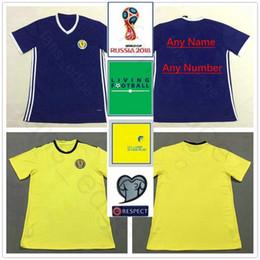Camiseta de futbol de escocia online-2018 Escocia World Cup Soccer Jerseys 39 QSTURM 10 MARTIN 8 BROWN 11 RITCHIE 13 FORREST Camiseta de fútbol personalizada azul amarillo.