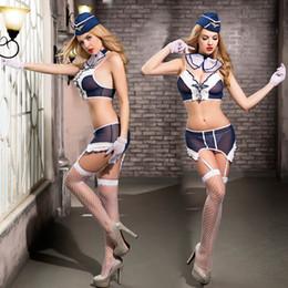 uniforme de latex azul Rebajas 7 unids / set Sexy Mujer Marinero Traje Lencería Conjunto Azul Azafata Cosplay Uniformes Sirvienta Camarera Traje Temptation Aerolínea conjunto