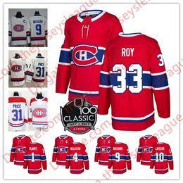 2019 weiße stitch jeans Montreal Canadiens NEUE MARKE 100. Klassiker # 4 Jean Beliveau 9 Maurice Richard 10 Guy Lafleur 33 Weißes, rot genähtes Hockeytrikot von Patrick Roy rabatt weiße stitch jeans