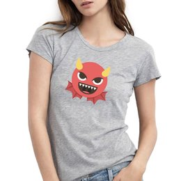 Wholesale Bat Wings Women Tops - Women's T-shirts Devil with Bat Wings Emoji Cute Printed Top Tees For Girls 100% Cotton O-Neck Hot Sale Funny T shirts Black