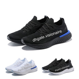 Wholesale pink knit top - New Epic React Mens Womens shoes White Black Blue Pink knitting Top quality Casual Shoes Eur36-45