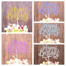2019 cappello d'oro viola 5 colori oro blu viola Happy Birthday Party Cake toppers decorazione per bambini festa di compleanno favori Baby hat Decoration GGA477 200pcs cappello d'oro viola economici
