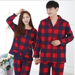 Wholesale Women Red Service - 2017 Couples pajamas spring autumn men and women cotton home service suits long-sleeved front buckle open chest men Korean version