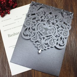 Wholesale Laser Cut Wedding Invitations Wholesale - Crystal wedding invitation country silver grey wedding engagement invitations flower laser cutting custom design multi colors