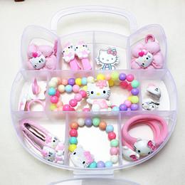 FANRAR Nova Moda Conjuntos de Jóias Meninas Bonitos rosa Olá Kitty Set Colar Pulseira Anéis Brincos de Cabelo de Bebê Festa de Aniversário Presente de