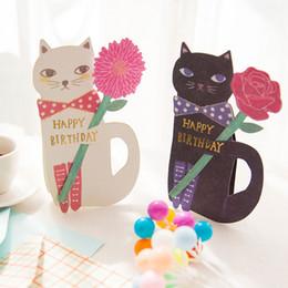 Canada 19 * 12.4 cm 20pcs Creative mignon chat et fleurs salutation carte de message avec enveloppe Kawaii Kids Birthday Gift cards Offre