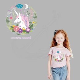 Wholesale Iron Children - New unicorn 20*18cm iron on patches for clothes DIY Children T-shirt jacket hoodie Grade-A Thermal transfer stickers