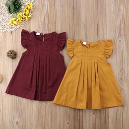 vestiti di stile boutique per i bambini Sconti Giallo Borgogna Neonate Summer Dress Casual Princess Party Tutu Abiti per bambini Abiti di colore solido Breve Style Dress Boutique per bambini