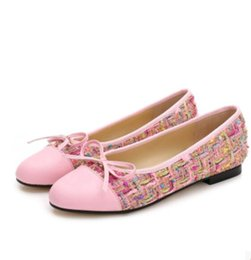 Wholesale Top Fashion Front Open - Women ballet flats top quality noble luxury sexy velvet Woolen Genuine Leather classic cute simple ladies fashion brand casual shoes