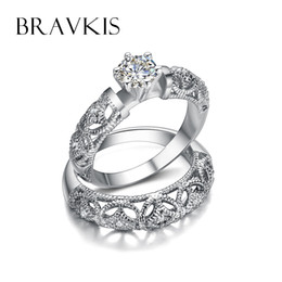 Wholesale Onyx Carving - Wholesale- BRAVKIS vintage crystal bridal ring set for women filigree wedding band carved ring sets double rings ringen bijoux 2017 BUR0130