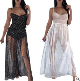 Wholesale women s transparent mesh dress - 2018 summer women s dress Fashion sexy transparent spot mesh sling dress Casual nightclub clothing 2 colors