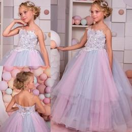 Argentina Rainbow Glitz Flower Girls Dresses para bodas 2018 Spaghetti Neck Crystal Kids Vestidos de baile Floor Length Teen Vestidos del desfile cheap halloween ball gowns for teens Suministro