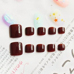 designer nails tips Promo Codes - Hot Sale Toenails 24pcs Vampire Wine Red False Toe Nails Full Cover Solid Nail Tips for Toe Art Designer Decor with Glue