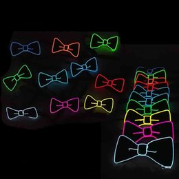 Wholesale sequin neck ties - Christmas Sequins LED Necktie Light Up Neck Tie Luminous EL Cold Light Line Bowtie Flashing Blinking Party Favors 20yh Y