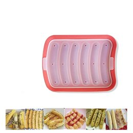 Wholesale Making Ice Cubes - Hotdogs silicone mold 6 cavities sausage mold DIY hand made humburger pan ice cube mold tray bread candy jelly chocolate cake