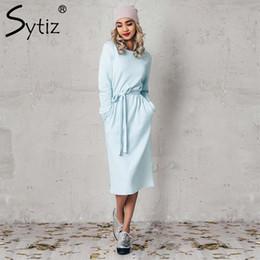Sytiz Light Blue Belted Women Dress Solid Mid-Calf Casual O-Collo manica  lunga 2017 Nuovo arrivo Autunno Inverno vestito chiaro di inverno in vendita 9772457d705