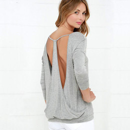 Wholesale Womens Sexy Backless Shirts - Wholesale-camisetas mujer backless sexy v neck t shirt women t-shirt tee shirts womens tops fashion 2016 cotton loose woman vetement femme