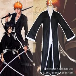 2019 trajes de anime quimono Anime BLEACH Morte Kurosaki ichigo Traje Cosplay Shinigami Morte Kimono Conjunto Completo Preto Equipado trajes de anime quimono barato