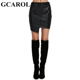 Wholesale Black Asymmetric Skirt - GCAROL Euro Style Asymmetric Women Faux Leather Skirt Character High Quality PU Sexy Mini Black Skirt For 4 Season