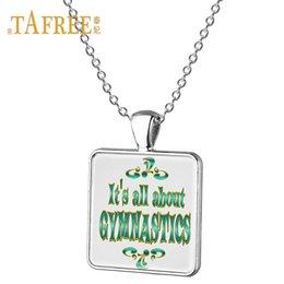 Wholesale Gymnastics Art - TAFREE Colorful art picture square Necklace gymnastics Pendant Love sport Jewelry Glass square pendant Necklace jewelry GY151