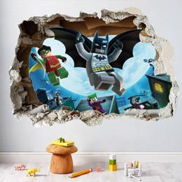 Wholesale Batman Movie Poster - Custom Art Justice League Vinyl sticker Lego Wallpaper Comics Poster Lego Movie Wall Stickers Emmet Batman Mural Decor