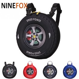 Wholesale Wheels School Bags - 2018 Cool design car tire wheels shape Children student kids school bag Zipper double shoulder straps Backpack schoolbag