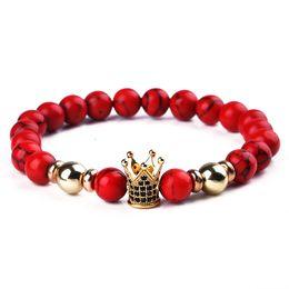 coroa vermelha do ouro Desconto Contas vermelhas Pulseira Artesanal Contas Pulseiras de Ouro Zircão Coroa Para As Mulheres Pulseira Homens Jóias Bileklik Bracelete Elástico Pulseira