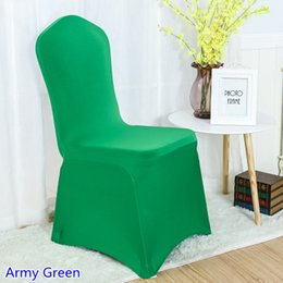 Wholesale wedding banquet chair covers sale - spandex chair cover Army green colour flat front lycra stretch banquet chair cover for wedding decoration wholesale on sale