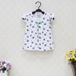 Wholesale Q Dress - Little Q Children's Tank Tops Baby cotton vest dress flower print bowknot shirt kid shirt girl child clothing newborn habiliment