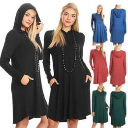 Wholesale Lined Coats Women - Women Long Sleeve Hoodie Sweatshirt Hooded Coat Pullover Dress Solid Color Pockets Loose Women Dresses LJJO4128